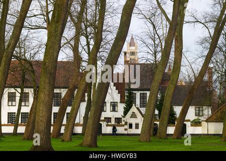 Belgium, Bruges, Begijnhof, 13th century convent, buildings - Stock Photo