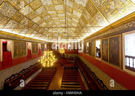 Portugal, province of Beira Coast, Coimbra, University of Coimbra, UNESCO World Heritage Site, Sala de los actos - Stock Photo