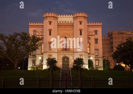 United States, Louisiana, Baton Rouge, Louisiana Old State Capitol Museum, exterior, dusk - Stock Photo