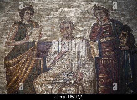 Tunisia, Tunis, Bardo Museum, Roman-era mosaics - Stock Photo
