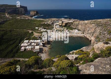 Malta, Gozo Island, Dwejra, elevated view of the Inland Sea - Stock Photo