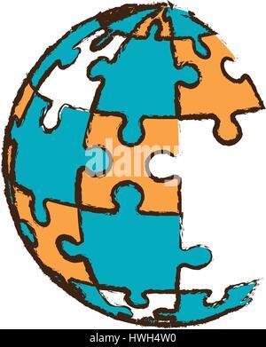 globe puzzle pieces image - Stock Photo