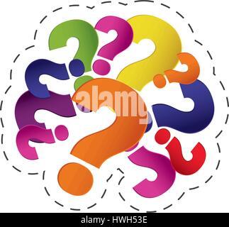 brain question mark image - Stock Photo