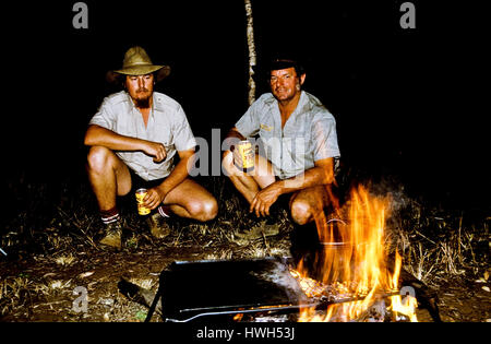 Camp-fire in the Australian outback in far north Queensland. - Stock Photo