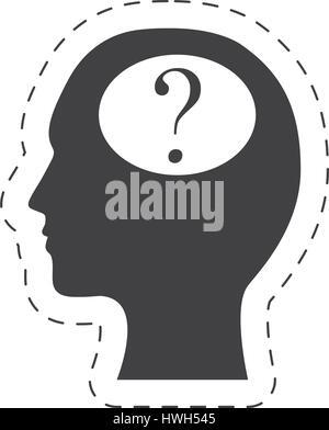 silhouette head question mark image - Stock Photo