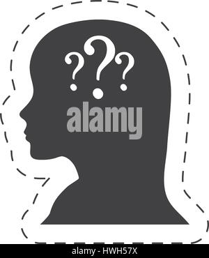 silhouette female head question mark - Stock Photo