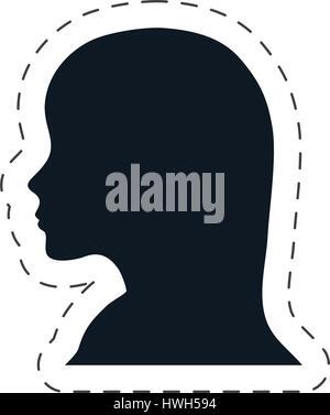 silhouette head female communication - Stock Photo