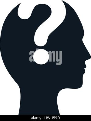 silhouette head question mark image - Stock Photo