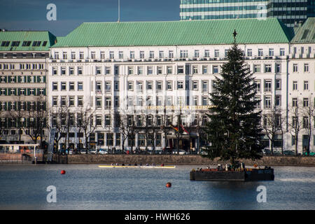 'Christmas tree on the Inner Alster, Germany; Hamburg; the Inner Alster, lake, seasons; winter; Christmas tree, - Stock Photo
