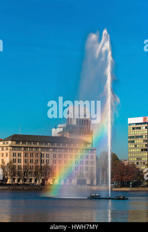 Alster jet with rainbow, Germany, Hamburg, the Alster jet with rainbow in Hamburg, Alster jet with rainbow in Hamburg, - Stock Photo