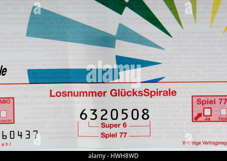 Lottery Bill Lottoschein lotto player, lotto profit, lotto system, lotto winner, lotto society, lotto profit, lotto - Stock Photo