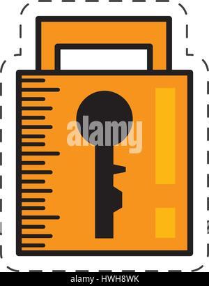 cartoon padlock security system image - Stock Photo