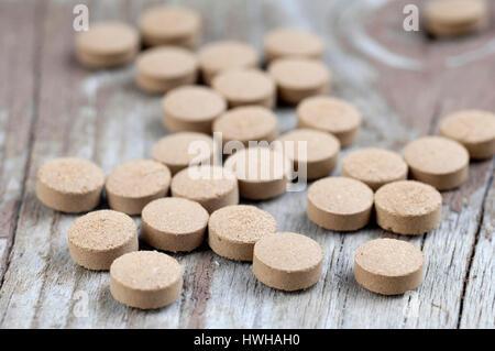 Greater Galangal pills, Alpinia galanga Galgant Presslinge Gro ? ?er Galgant, Thai ginger, inside, studio, indoor, - Stock Photo