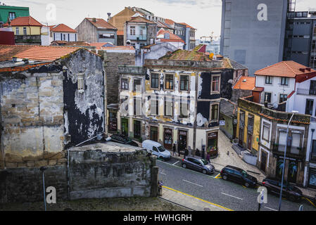 Old residential buildings in Santo Ildefonso district of Porto city on Iberian Peninsula, second largest city in - Stock Photo