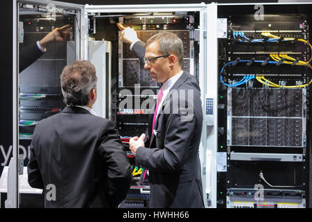 Hannover, Germany, 20th March 2017 - CeBIT digital technology trade fair 2017, Large computer on a fair stand