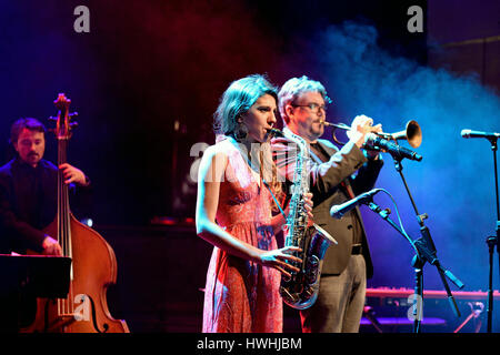 BARCELONA - APR 16: Eva Fernandez Group (jazz band) performs at Luz de Gas club on April 16, 2015 in Barcelona, - Stock Photo