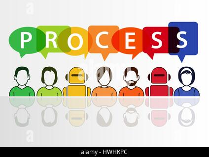 Process automation concept with text on white background - Stock Photo
