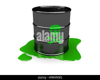 3d illustration of toxic barrel over white background - Stock Photo
