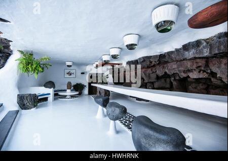 Bar in Jameos del Agua, created by artist Cesar Manrique, Lanzarote, Canary Islands. - Stock Photo