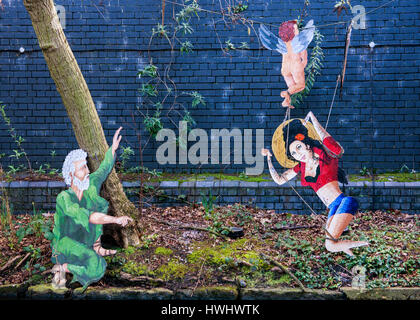 Regents canal  tow path with Amy Winehouse graffiti - Stock Photo