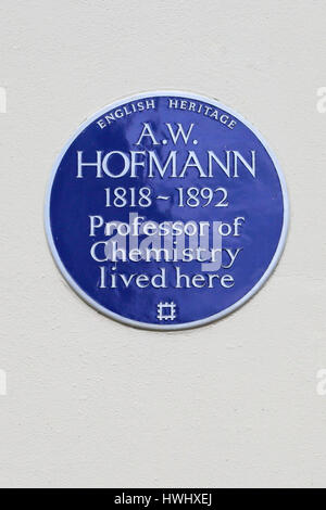 English Heritage Blue Plaque on the home of A W Hofman, Professor of Chemistry, Fitzroy Square, Central London, - Stock Photo