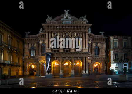 Bellini Theater Square historic theater in Catania Italy in the evening - Stock Photo