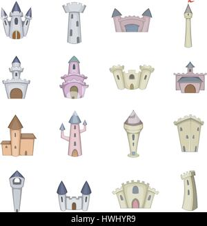 Castle tower icons set, cartoon style - Stock Photo