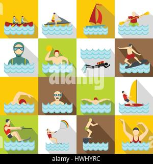 Water sport icons set, flat style - Stock Photo