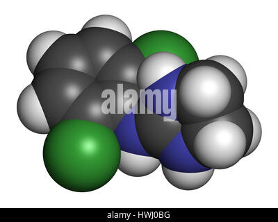 Clonidine drug molecule. Used in treatment of ADHD, hypertension, migraine, anxiety disorders, etc. 3D rendering. - Stock Photo