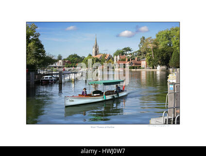 Steam boat on Thames at Marlow approaching lock - Stock Photo