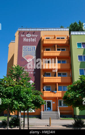 Hostel Ostel, Strasse der Pariser Kommune, Friedrichshain, Berlin, Deutschland - Stock Photo
