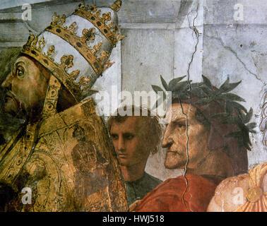 Raphael (1483-1520). Italian painter. Disputation of the Holy Sacrament. Detail: Pope Sixtus IV and Dante Alighieri. - Stock Photo