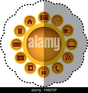 yellow technology apps connections icon - Stock Photo