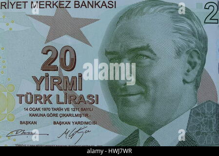 Closeup of Mustafa Kemal Ataturk on 20 Lira bank note. - Stock Photo