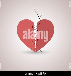Icon red, paper, broken heart stitched thread with shadow, flat style, isolated on a light background, vector illustration. - Stock Photo