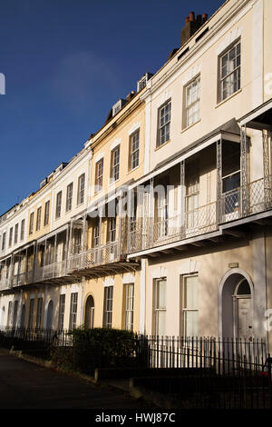 Facades of houses on Royal York Cresent in the Clifton district of Bristol, England. Houses on the Georgian terrace - Stock Photo