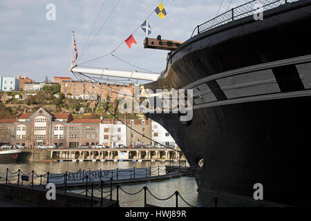 The SS Great Britain in Bristol, England. The ship, with a metal hull, was designed by Isambard Kingdom Brunel and - Stock Photo