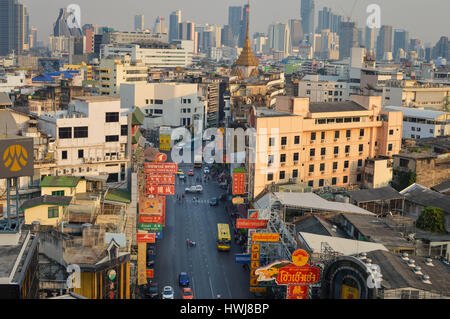 Bangkok, Thailand - February 18, 2017: Aerial view of the famous Yaowarat street in Chinatown, Bangkok, Thailand - Stock Photo