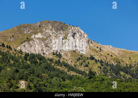 View of green trees at the foot and on the slopes of mountain under blue sky in France. - Stock Photo