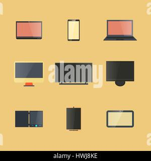 Icons digital devices with display isolated on a yellow background, the design of electronic components. The flat - Stock Photo