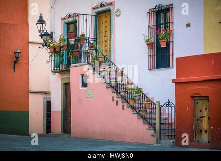 Beautiful staircase at home in Guanajuato, Mexico ------ Guanajuato is a city and municipality in central Mexico - Stock Photo