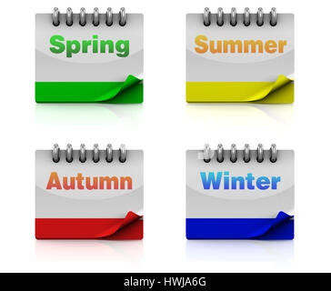 3d illustration of four seasons calendar pages - Stock Photo