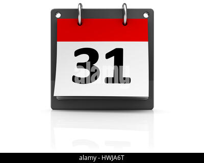 3d illustration of month calendar over white background - Stock Photo