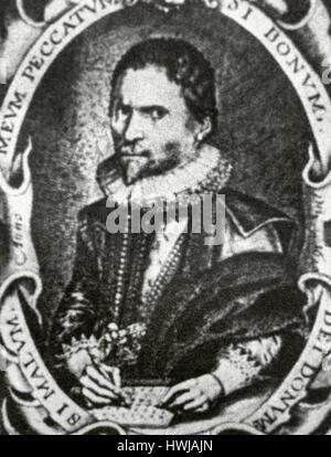 John Napier (1550-1617). Scottish mathematician, physicist, and astronomer. Portrait. Engraving. - Stock Photo