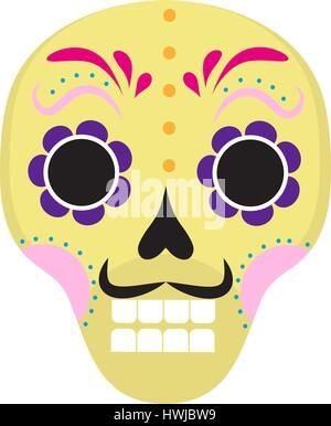 Sugar skull icon, flat, cartoon style. Cute dead head, skeleton for the Day of the Dead in Mexico. Isolated on white - Stock Photo