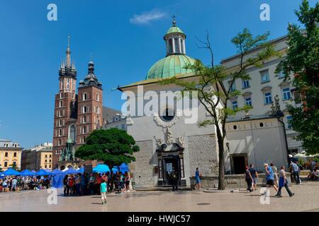 Marienkirche, Adalbertkirche, Hauptmarkt, Krakau, Polen - Stock Photo