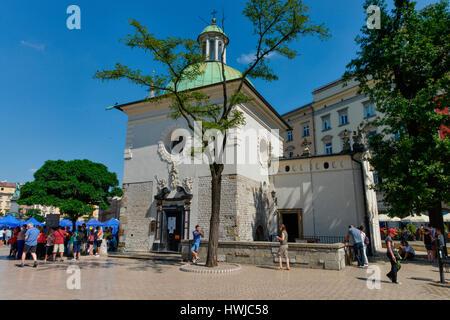 Adalbertkirche, Hauptmarkt, Krakau, Polen - Stock Photo
