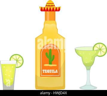 Tequila bottle with glasses and pieces of lime icon flat, cartoon style isolated on white background. Vector illustration, - Stock Photo