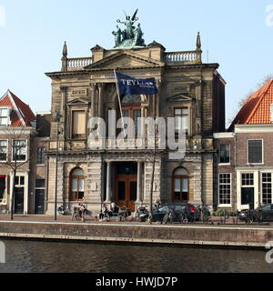 18th century Teyler's Museum  art, natural history, and science museum in Haarlem, Netherlands at Spaarne river - Stock Photo