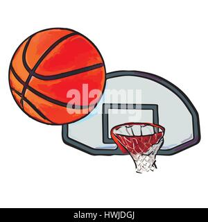 basketball flies into ring - Stock Photo